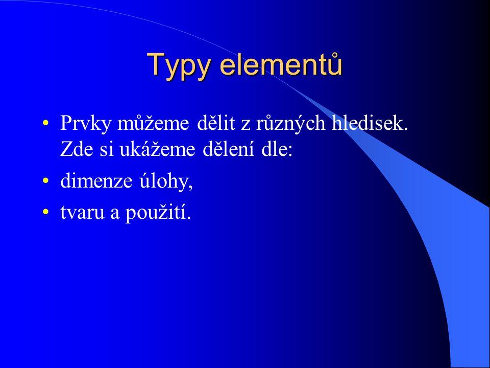 Typy elementů Prvky můžeme dělit z různých hledisek. Zde si ukážeme dělení dle: dimenze úlohy, tvaru a použití.