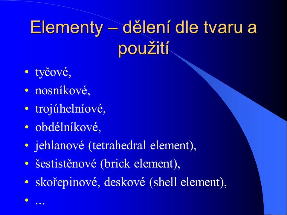 """Elementy – dělení dle dimenze prvku """"nula rozměrné – hmotný bod, point – to – point contact jednorozměrné – tyčové, nosníkové, trubky dvojrozměrné (rovinné) – RN, RD, axisymetrické, skořepiny prostorové"""