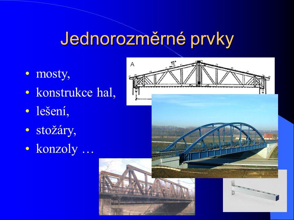 Jednorozměrné prvky mosty, konstrukce hal, lešení, stožáry, konzoly …