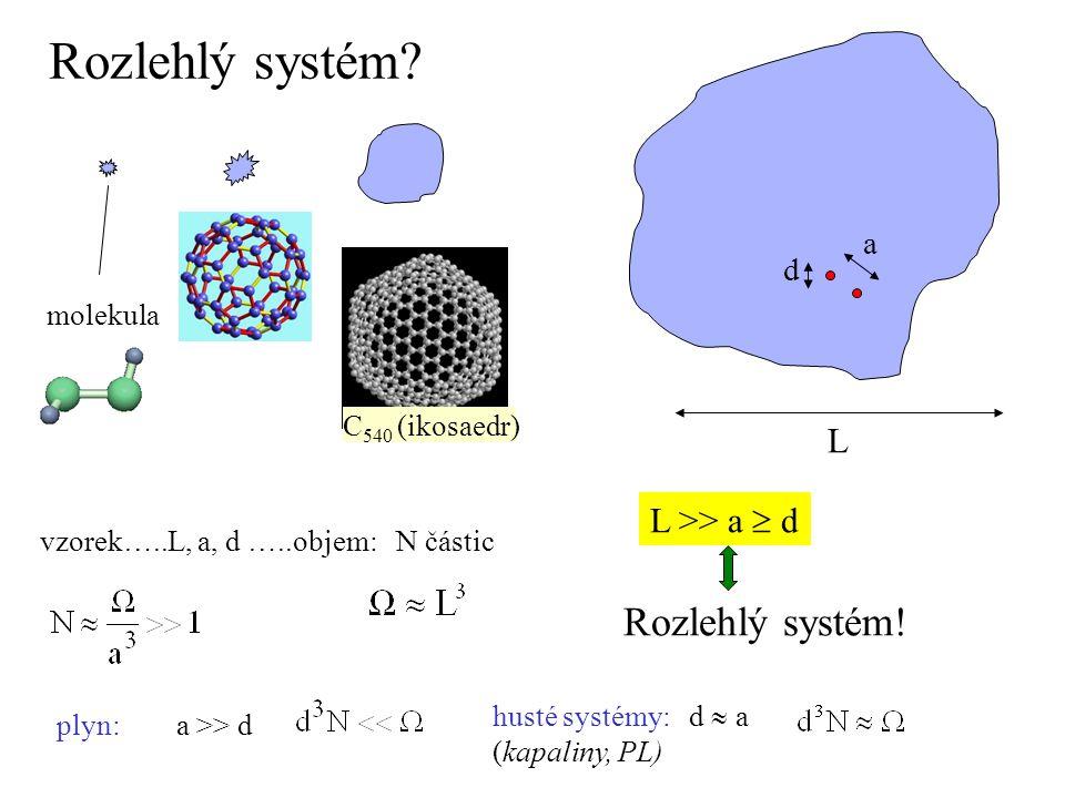 Rozlehlý systém? molekula L a d L >> a  d Rozlehlý systém! C 540 (ikosaedr) vzorek…..L, a, d …..objem: N částic plyn: a >> d husté systémy: d  a (ka