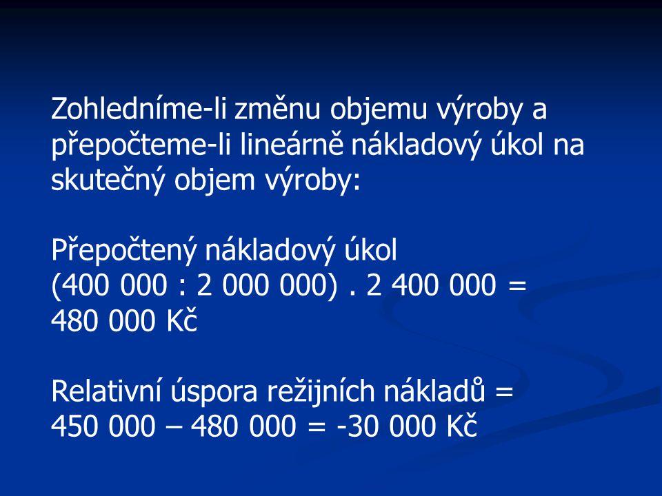Zohledníme-li změnu objemu výroby a přepočteme-li lineárně nákladový úkol na skutečný objem výroby: Přepočtený nákladový úkol (400 000 : 2 000 000). 2