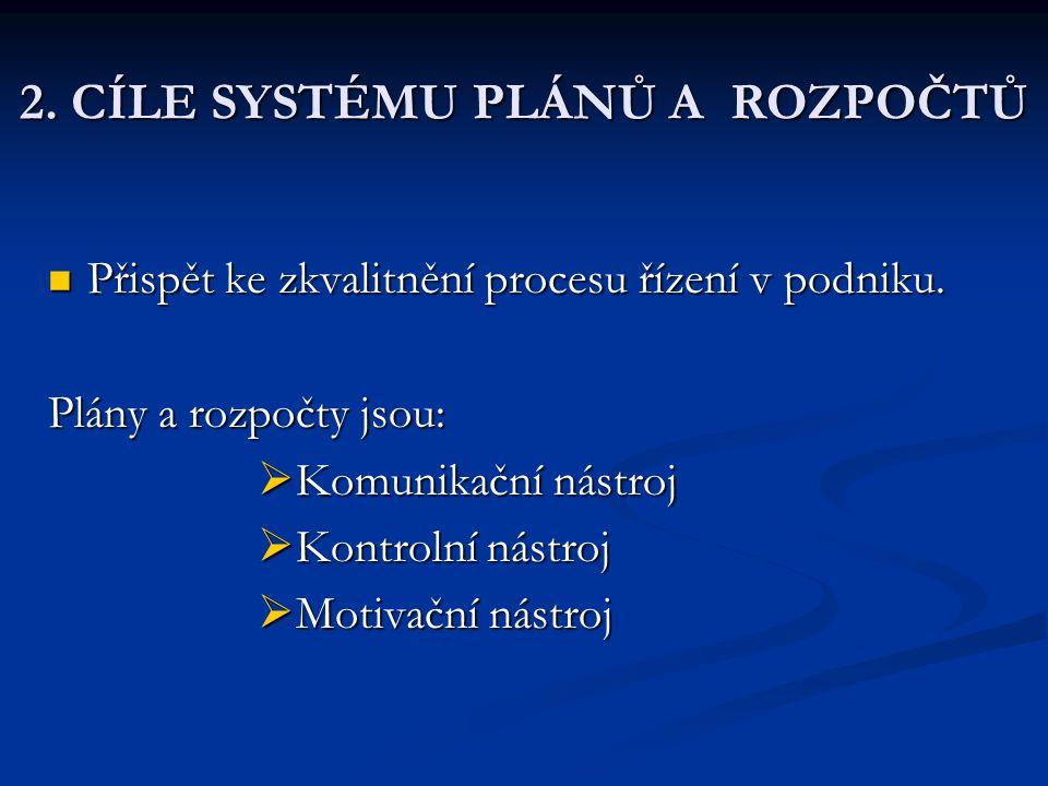 2. CÍLE SYSTÉMU PLÁNŮ A ROZPOČTŮ Přispět ke zkvalitnění procesu řízení v podniku. Přispět ke zkvalitnění procesu řízení v podniku. Plány a rozpočty js