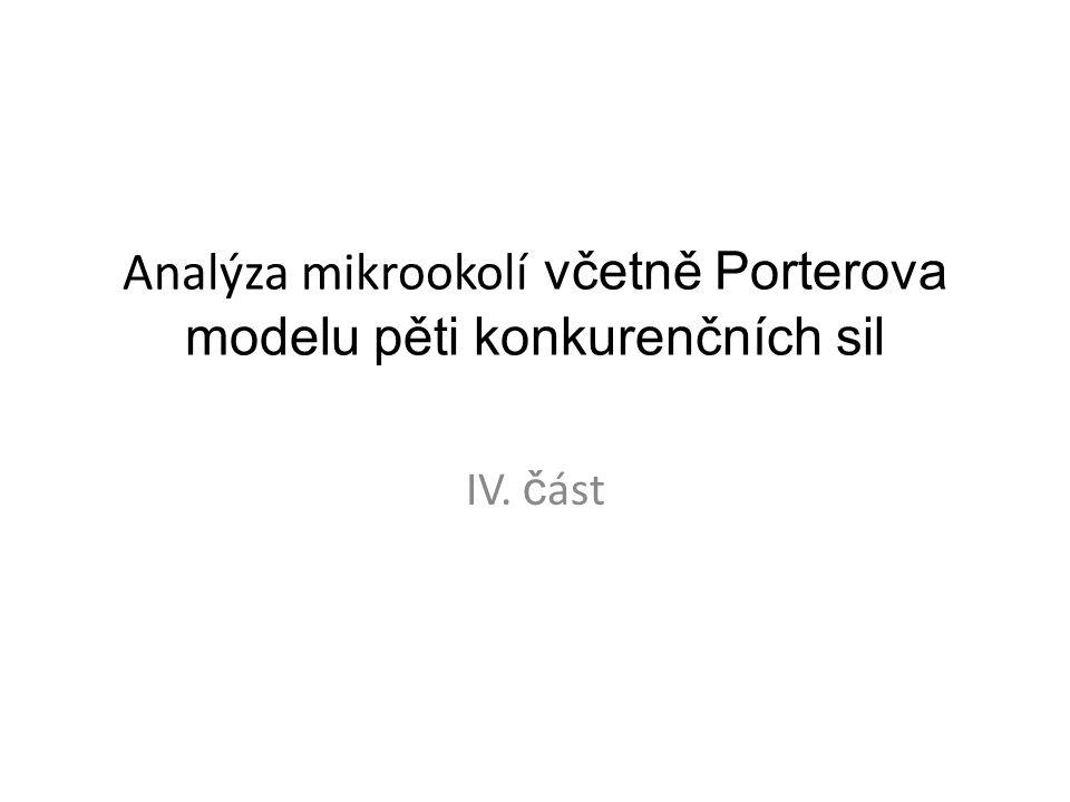 Analýza mikrookolí včetně Porterova modelu pěti konkurenčních sil IV. č ást