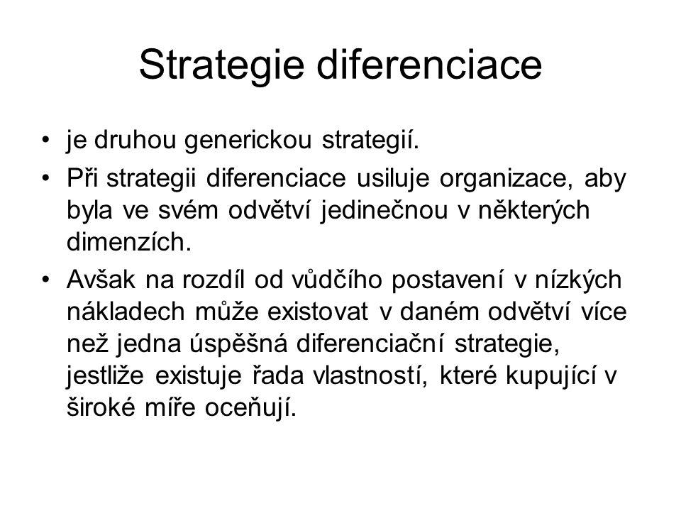 Strategie diferenciace je druhou generickou strategií. Při strategii diferenciace usiluje organizace, aby byla ve svém odvětví jedinečnou v některých