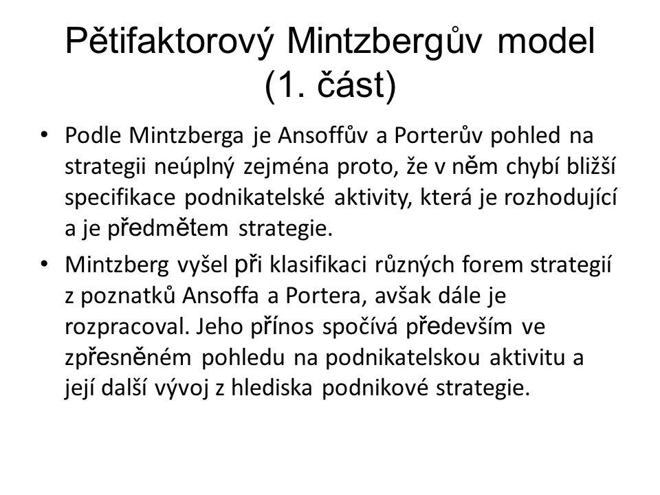 Pětifaktorový Mintzbergův model (1. část) Podle Mintzberga je Ansoffův a Porterův pohled na strategii neúplný zejména proto, že v n ě m chybí bližší s
