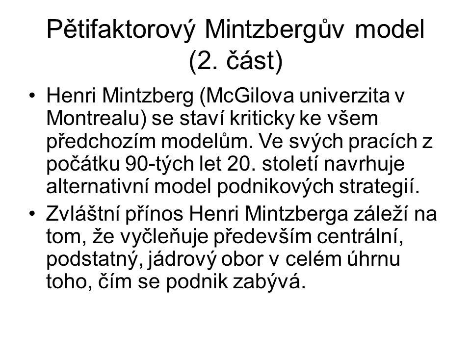 Pětifaktorový Mintzbergův model (2. část) Henri Mintzberg (McGilova univerzita v Montrealu) se staví kriticky ke všem předchozím modelům. Ve svých pra