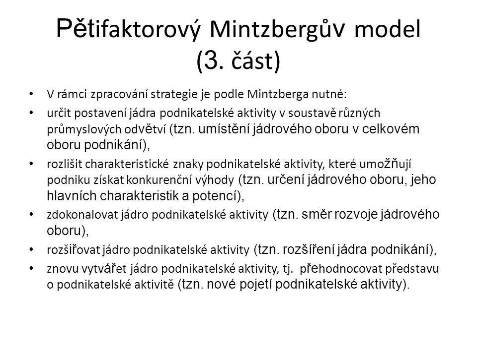 Pět ifaktorový Mintzbergů v model ( 3. část) V rámci zpracování strategie je podle Mintzberga nutné: určit postavení jádra podnikatelské aktivity v so