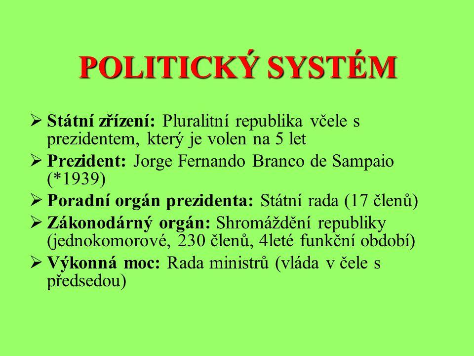 POLITICKÝ SYSTÉM  Státní zřízení: Pluralitní republika včele s prezidentem, který je volen na 5 let  Prezident: Jorge Fernando Branco de Sampaio (*1