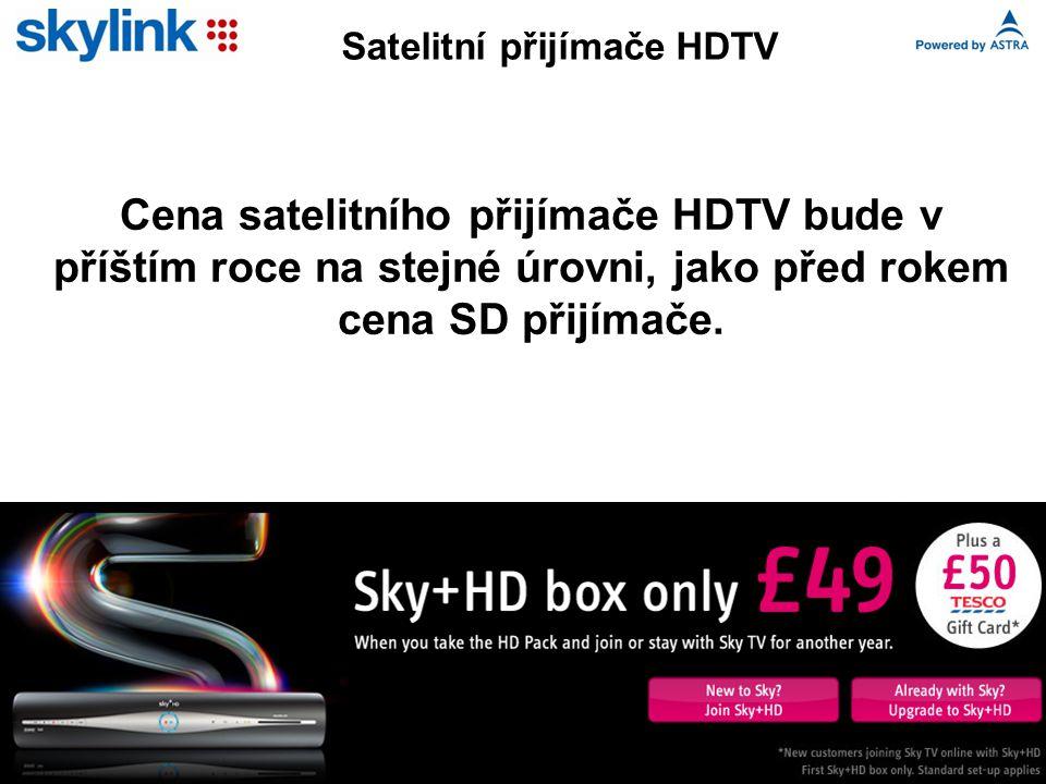 Cena satelitního přijímače HDTV bude v příštím roce na stejné úrovni, jako před rokem cena SD přijímače.