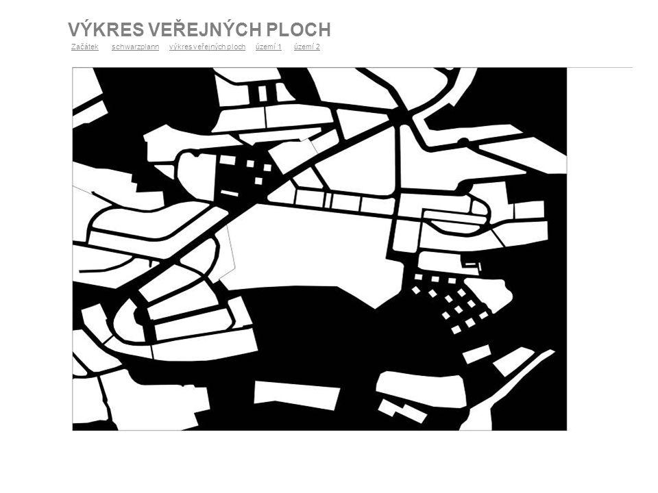 VÝKRES VEŘEJNÝCH PLOCH ZačátekZačátek schwarzplann výkres veřejných ploch území 1 území 2schwarzplannvýkres veřejných plochúzemí 1území 2