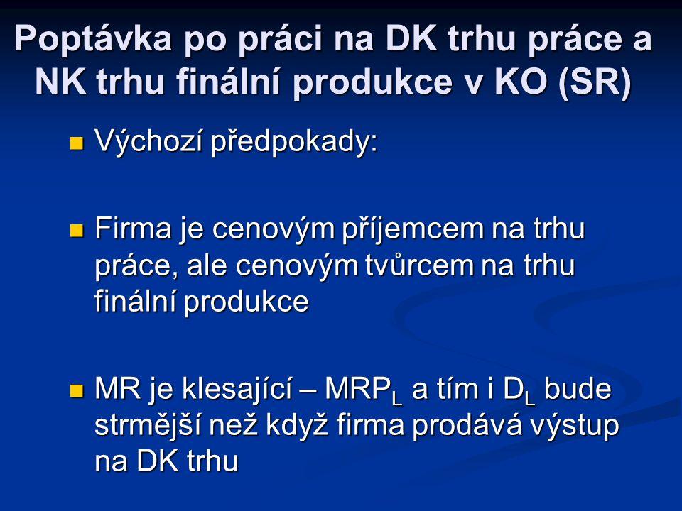 Analýza situací na trhu práce Trh práce v DK Trh práce v DK Nabídka práce Nabídka práce Poptávka po práci na DK trhu práce a DK trhu finální produkce