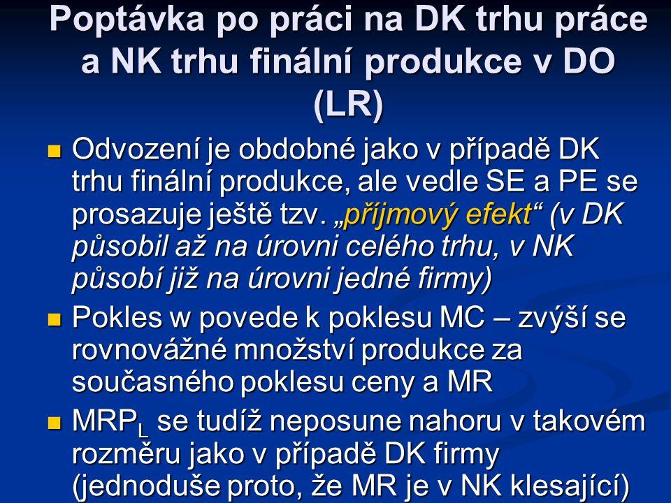 MRP L ARP L L MRP L ARP L L MRP L Poptávka po práci na DK trhu práce a NK trhu finální produkce v KO (SR) DLDL DLDL Firma na DK trhu finální produkceF