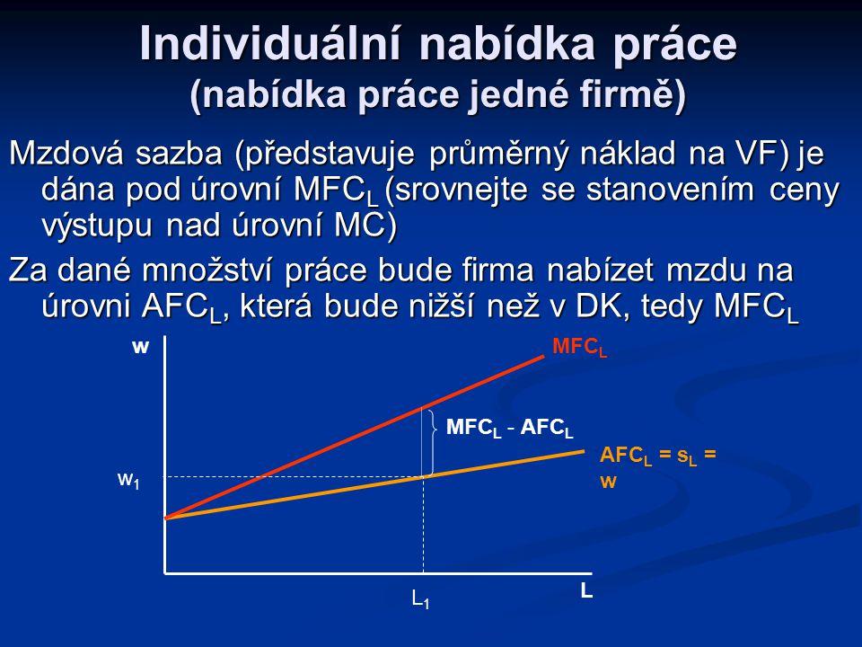 Charakteristika NK trhu práce NK trh práce – existence omezeného množství firem, kupujících VF práce NK trh práce – existence omezeného množství firem