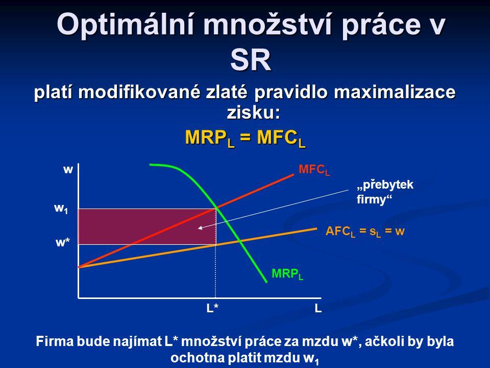 Individuální nabídka práce (nabídka práce jedné firmě) Mzdová sazba (představuje průměrný náklad na VF) je dána pod úrovní MFC L (srovnejte se stanove