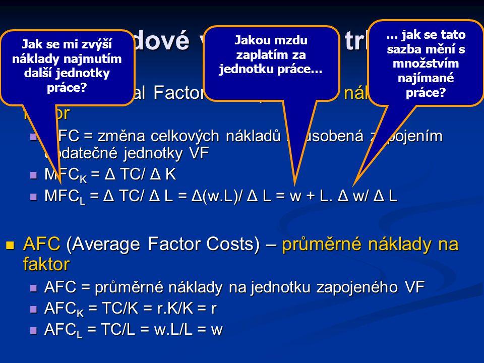 Nákladové veličiny na trhu VF MFC (Marginal Factor Costs) – mezní náklady na faktor MFC (Marginal Factor Costs) – mezní náklady na faktor MFC = změna celkových nákladů způsobená zapojením dodatečné jednotky VF MFC = změna celkových nákladů způsobená zapojením dodatečné jednotky VF MFC K = Δ TC/ Δ K MFC K = Δ TC/ Δ K MFC L = Δ TC/ Δ L = Δ(w.L)/ Δ L = w + L.
