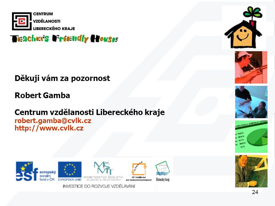 24 Děkuji vám za pozornost Robert Gamba Centrum vzdělanosti Libereckého kraje robert.gamba@cvlk.cz http://www.cvlk.cz