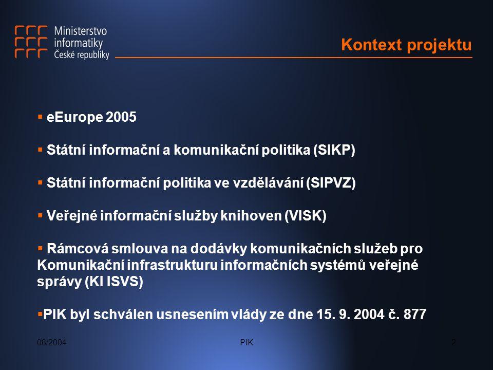 PIK2 Kontext projektu  eEurope 2005  Státní informační a komunikační politika (SIKP)  Státní informační politika ve vzdělávání (SIPVZ)  Veřejné informační služby knihoven (VISK)  Rámcová smlouva na dodávky komunikačních služeb pro Komunikační infrastrukturu informačních systémů veřejné správy (KI ISVS)  PIK byl schválen usnesením vlády ze dne 15.