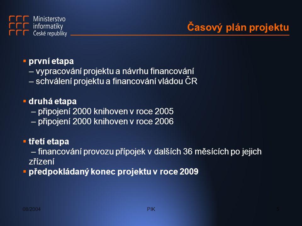 08/2004PIK5 Časový plán projektu  první etapa – vypracování projektu a návrhu financování – schválení projektu a financování vládou ČR  druhá etapa – připojení 2000 knihoven v roce 2005 – připojení 2000 knihoven v roce 2006  třetí etapa – financování provozu přípojek v dalších 36 měsících po jejich zřízení  předpokládaný konec projektu v roce 2009