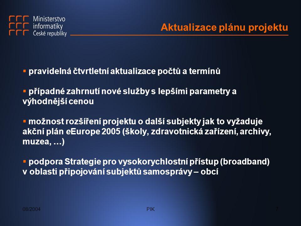 08/2004PIK7 Aktualizace plánu projektu  pravidelná čtvrtletní aktualizace počtů a termínů  případné zahrnutí nové služby s lepšími parametry a výhodnější cenou  možnost rozšíření projektu o další subjekty jak to vyžaduje akční plán eEurope 2005 (školy, zdravotnická zařízení, archivy, muzea, …)  podpora Strategie pro vysokorychlostní přístup (broadband) v oblasti připojování subjektů samosprávy – obcí