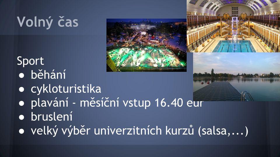 Volný čas Sport ● běhání ● cykloturistika ● plavání - měsíční vstup 16.40 eur ● bruslení ● velký výběr univerzitních kurzů (salsa,...)