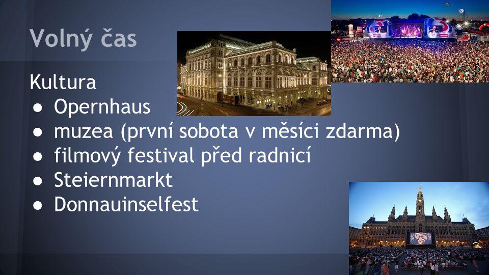 Volný čas Kultura ● Opernhaus ● muzea (první sobota v měsíci zdarma) ● filmový festival před radnicí ● Steiernmarkt ● Donnauinselfest