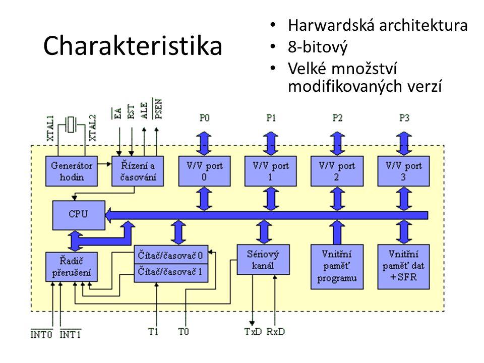 Charakteristika Harwardská architektura 8-bitový Velké množství modifikovaných verzí
