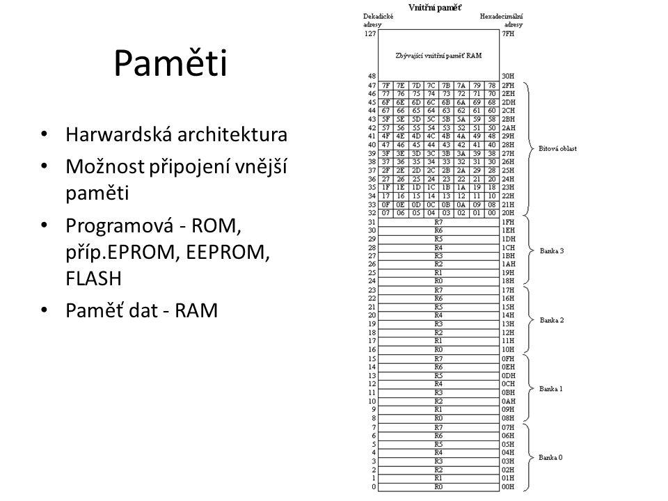 Paměti Harwardská architektura Možnost připojení vnější paměti Programová - ROM, příp.EPROM, EEPROM, FLASH Paměť dat - RAM