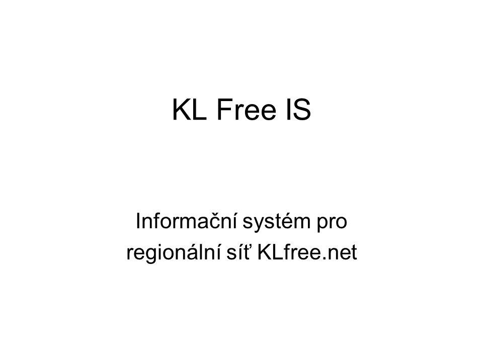 KL Free IS Informační systém pro regionální síť KLfree.net