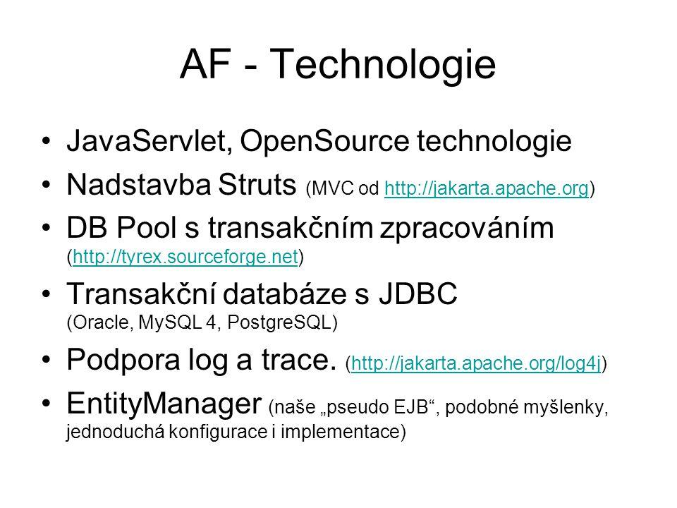 AF - Technologie JavaServlet, OpenSource technologie Nadstavba Struts (MVC od http://jakarta.apache.org)http://jakarta.apache.org DB Pool s transakčním zpracováním (http://tyrex.sourceforge.net)http://tyrex.sourceforge.net Transakční databáze s JDBC (Oracle, MySQL 4, PostgreSQL) Podpora log a trace.