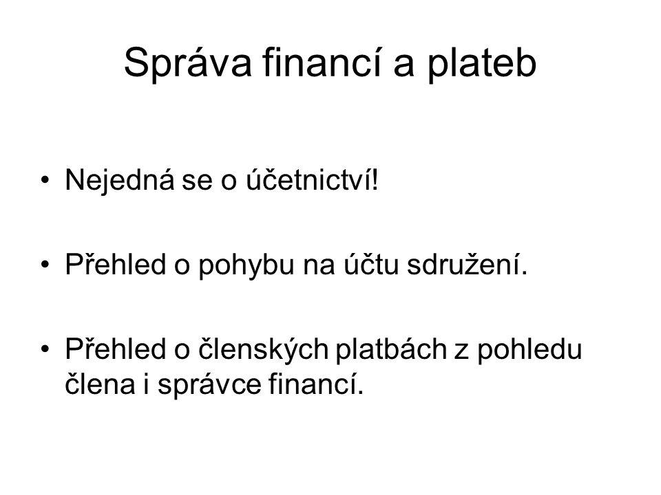 Správa financí a plateb Nejedná se o účetnictví! Přehled o pohybu na účtu sdružení. Přehled o členských platbách z pohledu člena i správce financí.