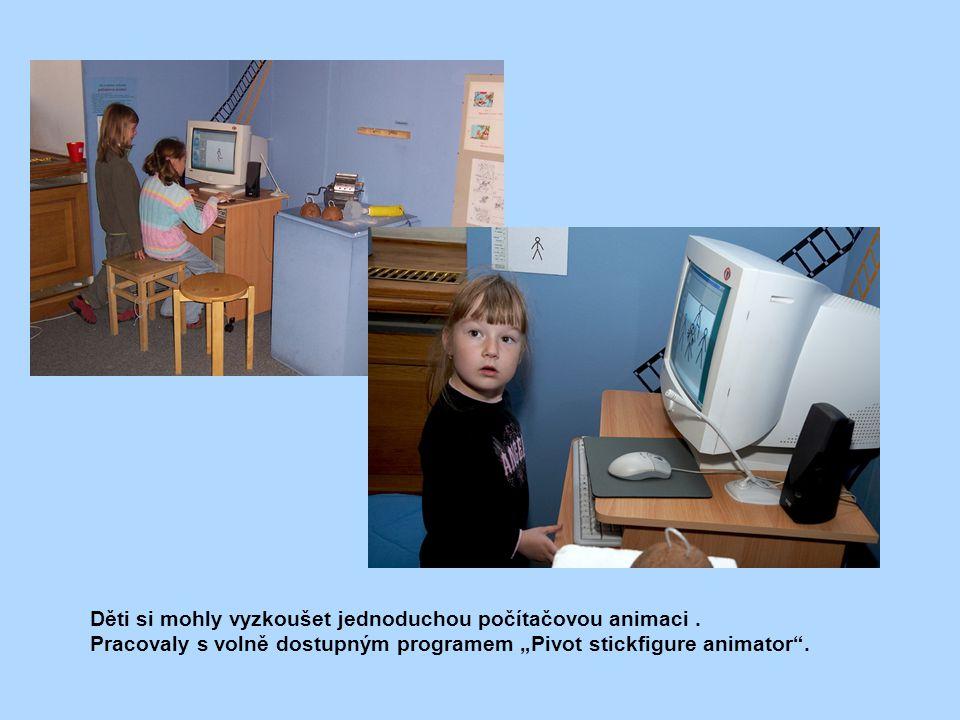 """Děti si mohly vyzkoušet jednoduchou počítačovou animaci. Pracovaly s volně dostupným programem """"Pivot stickfigure animator""""."""