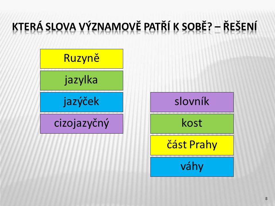 Ruzyně 8 jazylka jazýček cizojazyčný slovník kost část Prahy váhy