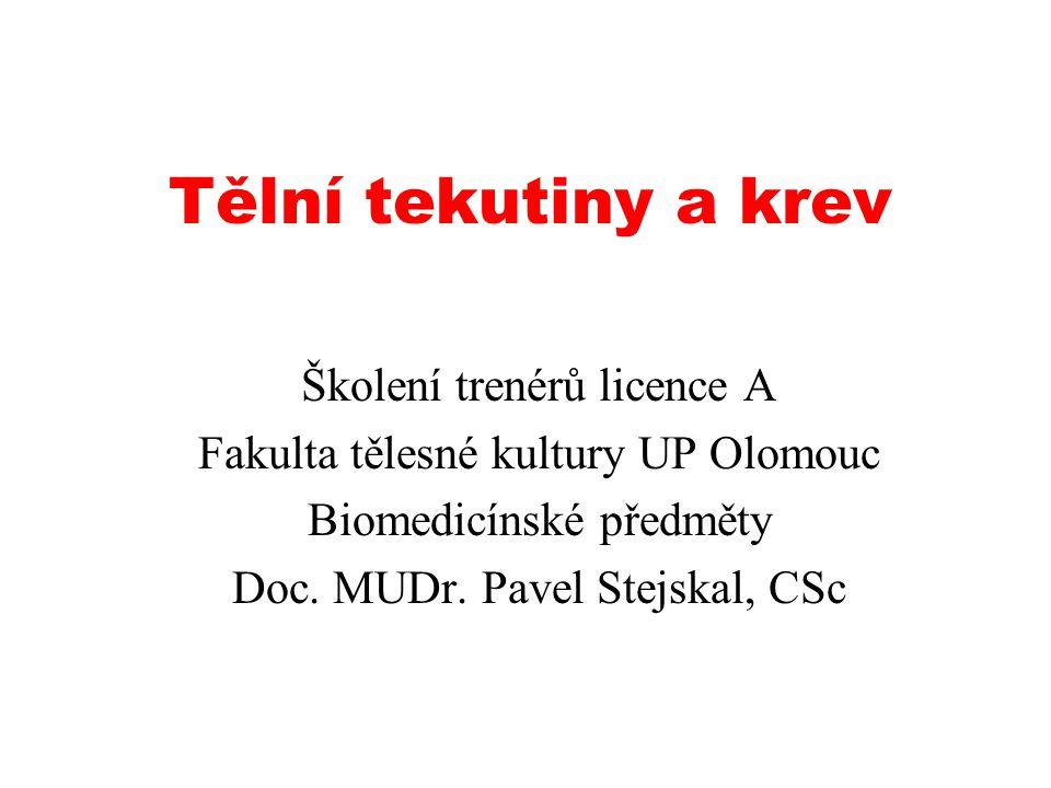 Tělní tekutiny a krev Školení trenérů licence A Fakulta tělesné kultury UP Olomouc Biomedicínské předměty Doc.