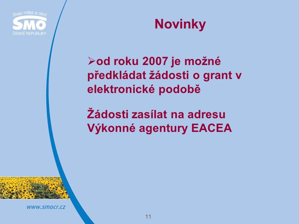11 Novinky  od roku 2007 je možné předkládat žádosti o grant v elektronické podobě Žádosti zasílat na adresu Výkonné agentury EACEA