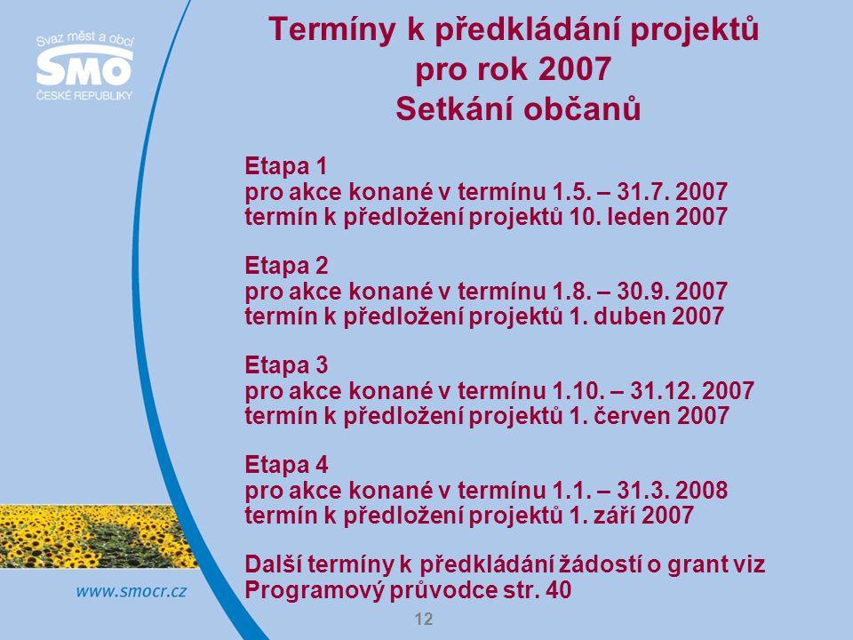12 Termíny k předkládání projektů pro rok 2007 Setkání občanů Etapa 1 pro akce konané v termínu 1.5.