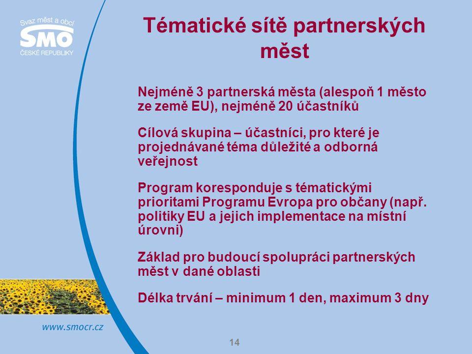 14 Tématické sítě partnerských měst Nejméně 3 partnerská města (alespoň 1 město ze země EU), nejméně 20 účastníků Cílová skupina – účastníci, pro které je projednávané téma důležité a odborná veřejnost Program koresponduje s tématickými prioritami Programu Evropa pro občany (např.