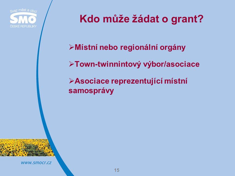 15 Kdo může žádat o grant.