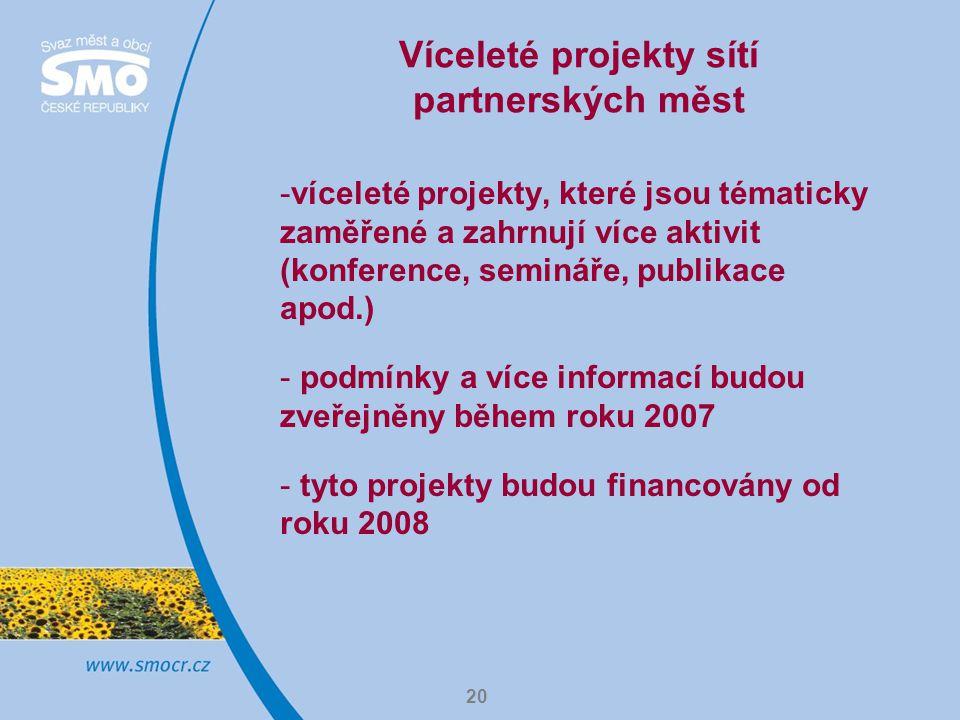 20 Víceleté projekty sítí partnerských měst -víceleté projekty, které jsou tématicky zaměřené a zahrnují více aktivit (konference, semináře, publikace apod.) - podmínky a více informací budou zveřejněny během roku 2007 - tyto projekty budou financovány od roku 2008