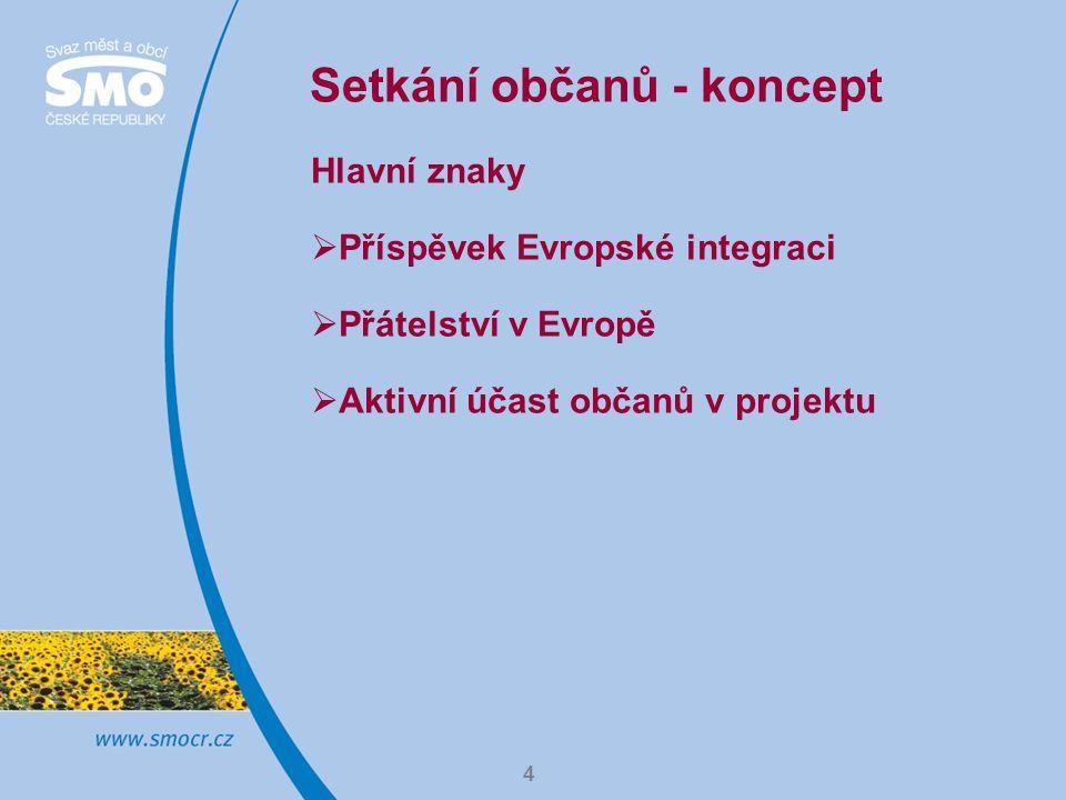 4 Setkání občanů - koncept Hlavní znaky  Příspěvek Evropské integraci  Přátelství v Evropě  Aktivní účast občanů v projektu