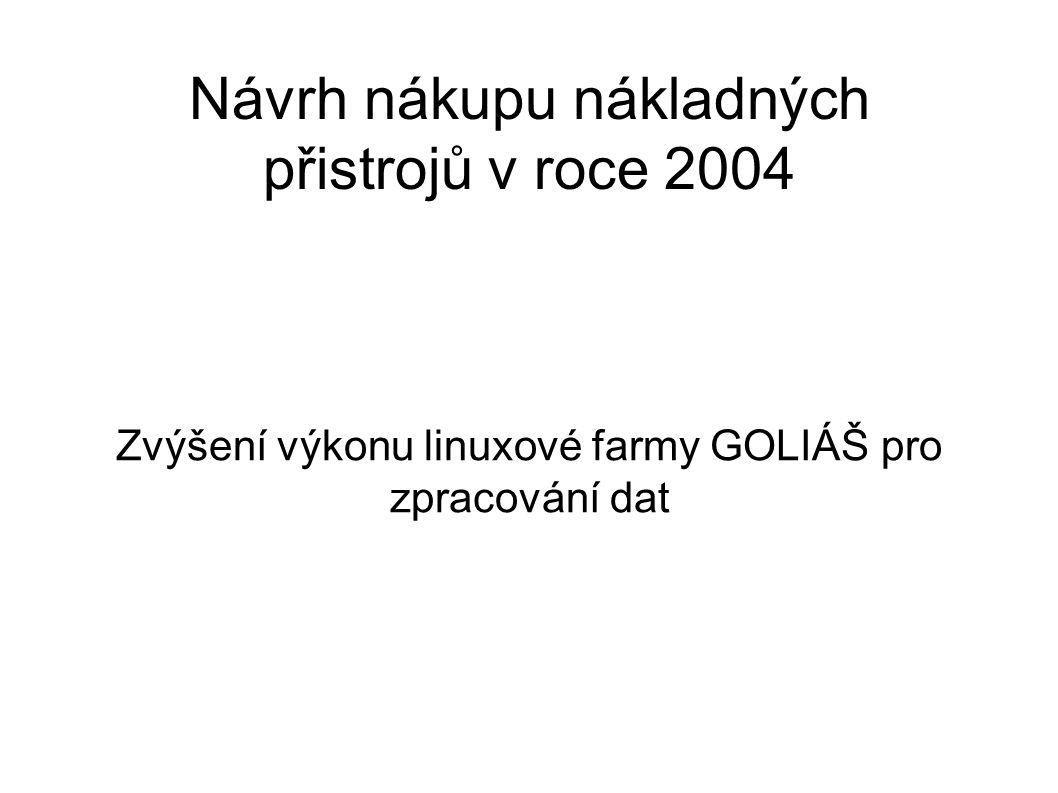 Návrh nákupu nákladných přistrojů v roce 2004 Zvýšení výkonu linuxové farmy GOLIÁŠ pro zpracování dat