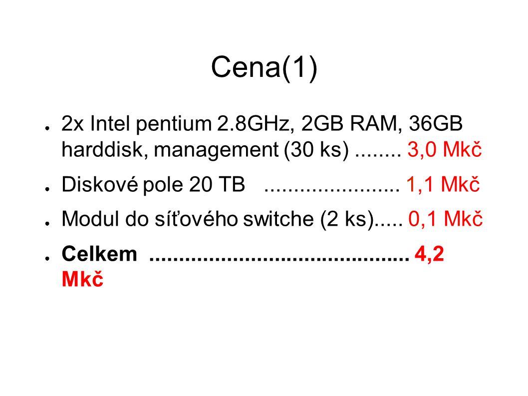 """Cena(2) ● Cena výpočetních uzlů udána dle nabídky firmy Hewlet-Packard ● Cena pro diskový prostor je uvedena dle nabídky firmy """"COMA – zálohovací systémy ● Před vlastním nákupem bude provedeno standardní výběrové řízení."""