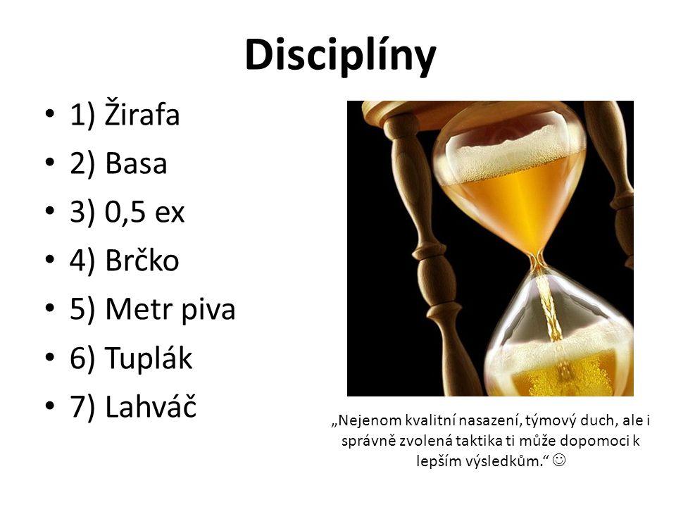 """Disciplíny 1) Žirafa 2) Basa 3) 0,5 ex 4) Brčko 5) Metr piva 6) Tuplák 7) Lahváč """"Nejenom kvalitní nasazení, týmový duch, ale i správně zvolená taktika ti může dopomoci k lepším výsledkům."""