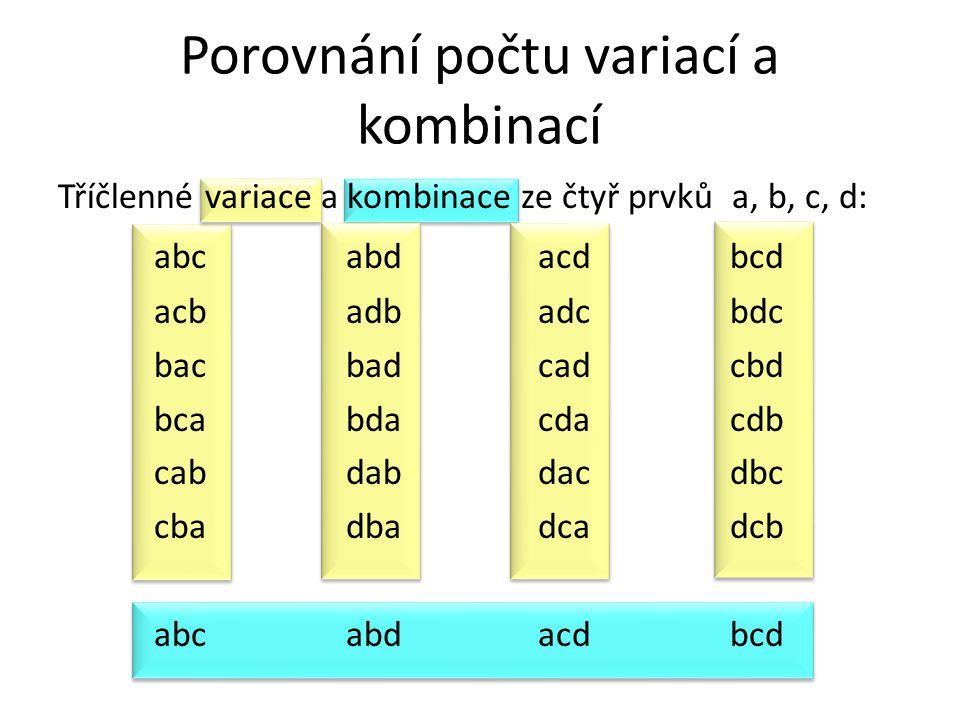 Porovnání počtu variací a kombinací Tříčlenné variace a kombinace ze čtyř prvků a, b, c, d: abcabdacdbcd acbadbadcbdc bacbadcadcbd bcabdacdacdb cabdab