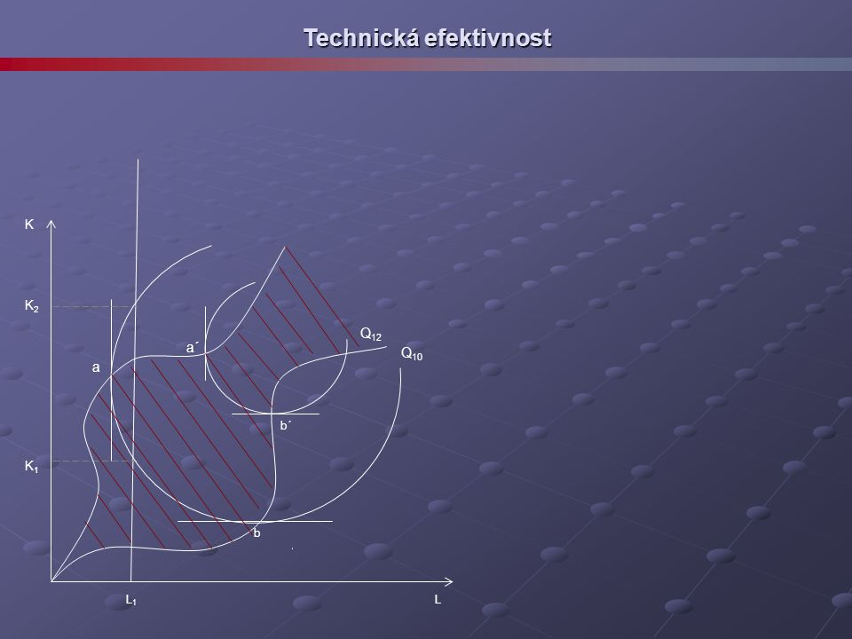 Technická efektivnost Q 10 K L a b L1L1 K2K2 K1K1 Q 12 a´ b´