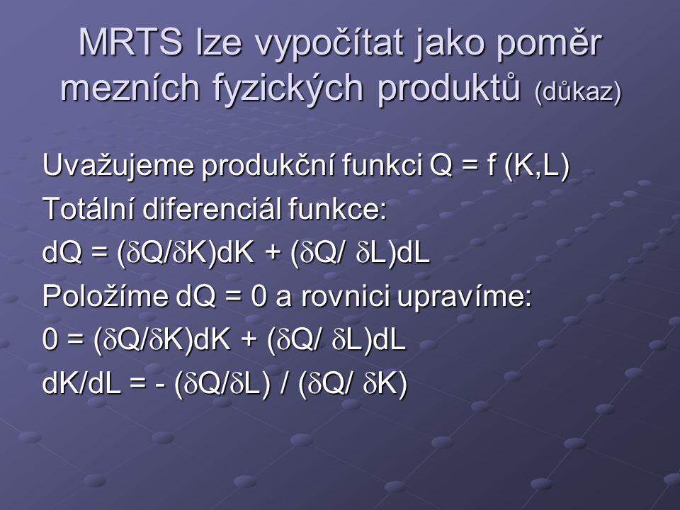 MRTS lze vypočítat jako poměr mezních fyzických produktů (důkaz) Uvažujeme produkční funkci Q = f (K,L) Totální diferenciál funkce: dQ = (  Q/  K)dK + (  Q/  L)dL Položíme dQ = 0 a rovnici upravíme: 0 = (  Q/  K)dK + (  Q/  L)dL dK/dL = - (  Q/  L) / (  Q/  K)