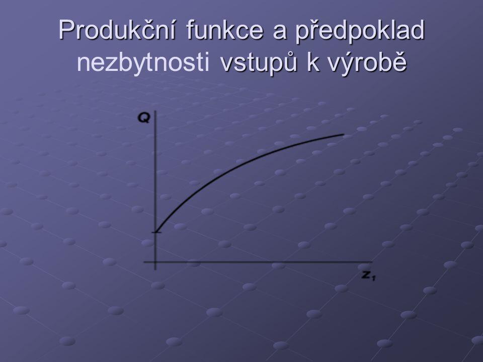 Produkční funkce a předpoklad vstupů k výrobě Produkční funkce a předpoklad nezbytnosti vstupů k výrobě