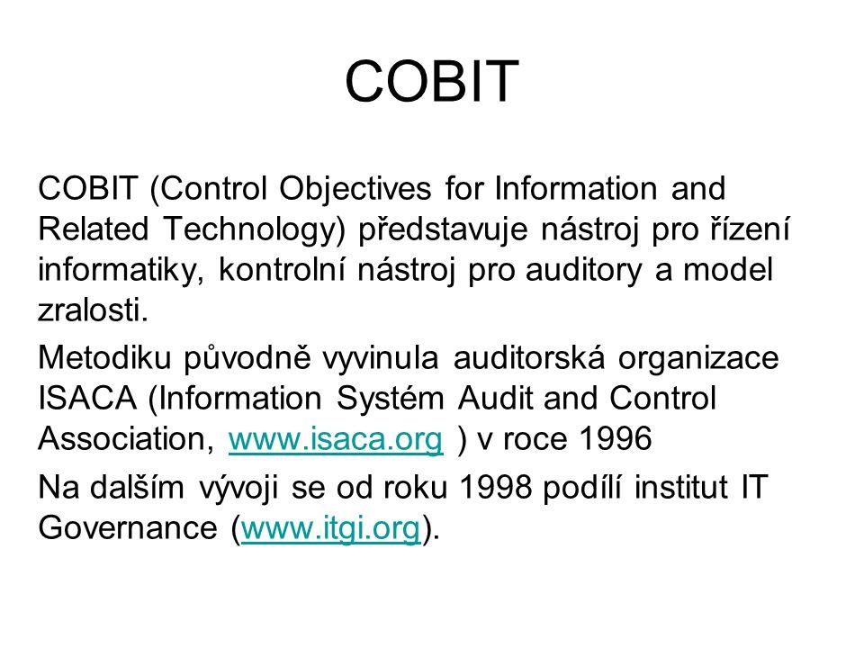 COBIT COBIT (Control Objectives for Information and Related Technology) představuje nástroj pro řízení informatiky, kontrolní nástroj pro auditory a m