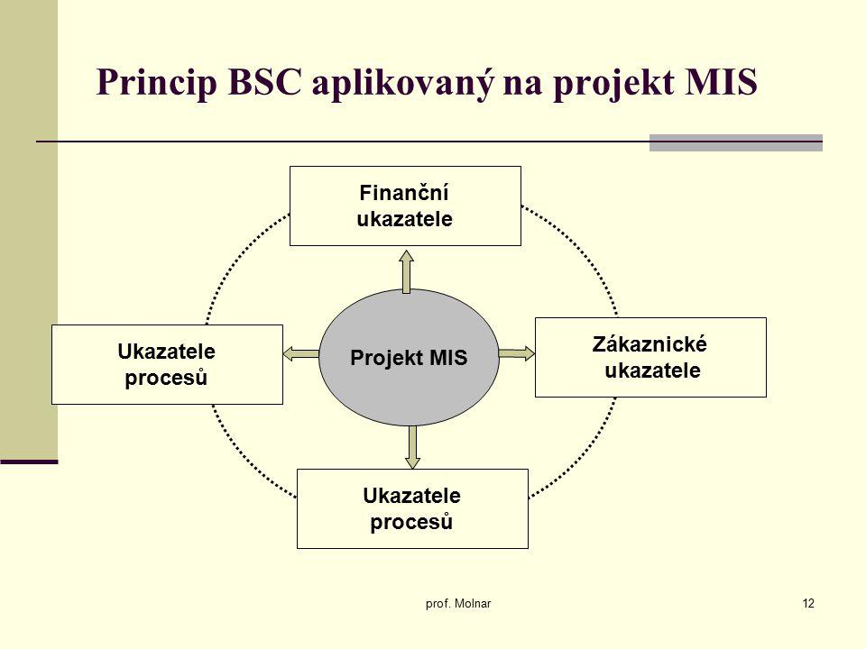 Princip BSC aplikovaný na projekt MIS prof. Molnar12 Projekt MIS Finanční ukazatele Zákaznické ukazatele Ukazatele procesů Ukazatele procesů