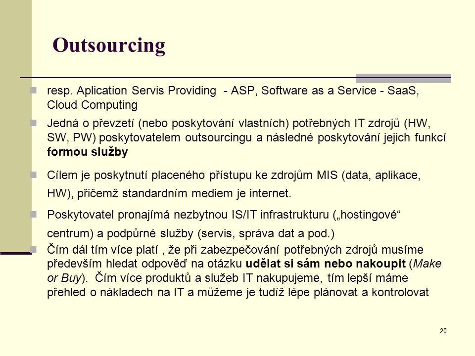 20 Outsourcing resp. Aplication Servis Providing - ASP, Software as a Service - SaaS, Cloud Computing Jedná o převzetí (nebo poskytování vlastních) po