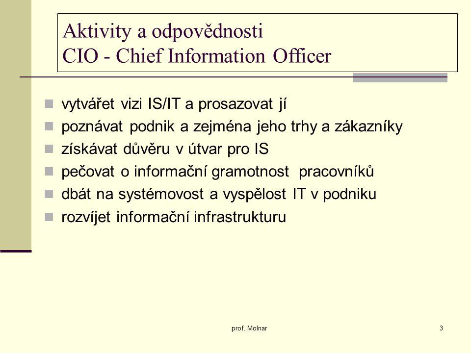 Aktivity a odpovědnosti CIO - Chief Information Officer vytvářet vizi IS/IT a prosazovat jí poznávat podnik a zejména jeho trhy a zákazníky získávat důvěru v útvar pro IS pečovat o informační gramotnost pracovníků dbát na systémovost a vyspělost IT v podniku rozvíjet informační infrastrukturu prof.